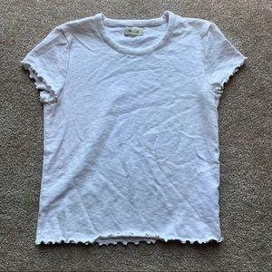 Madewell Lettuce-Edge Short Sleeve White Top